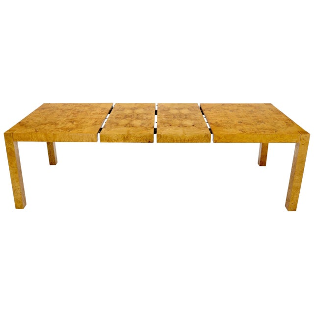 Rectangle Shape Burl Wood Dining Room Table with Two Extension Leaves Boards For Sale - Image 12 of 12