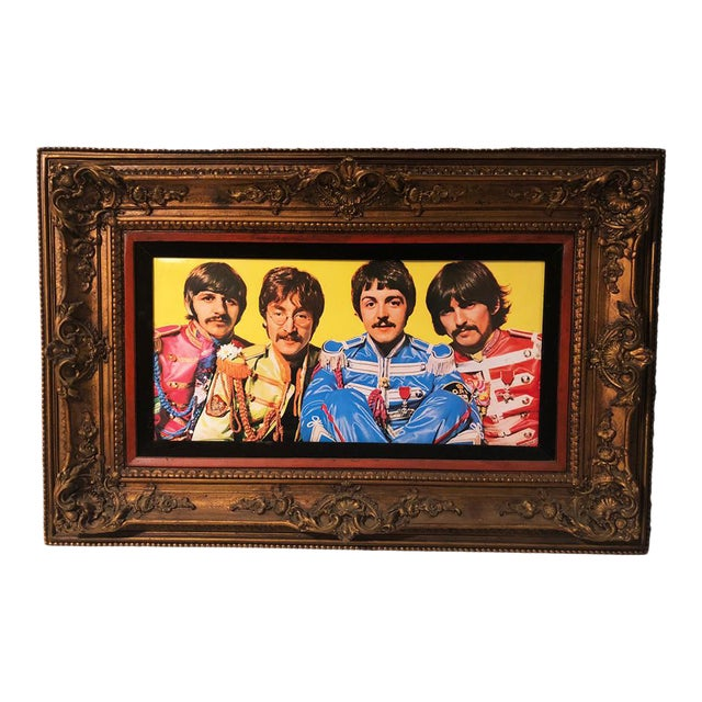 Antique Large Ornate Victorian Mirror W/ the Beatles Sgt Peppers Print For Sale