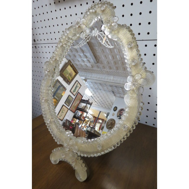 Wood 1900 Vintage Antique Venetian Glass Table/Wall Mirror For Sale - Image 7 of 8