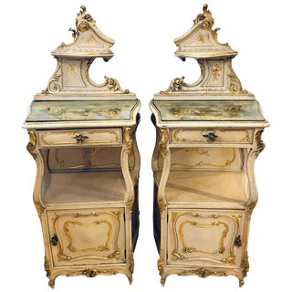 Pair of Louis XV Style Painted Cabinets, Nightstands or End Tables For Sale