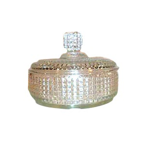 Round Square Patterned Glass Lidded Candy Dish