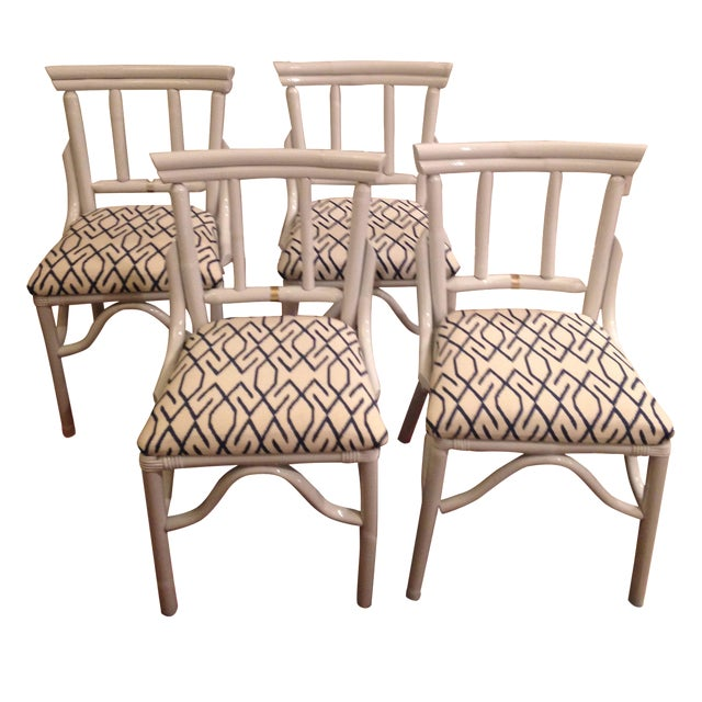 White Wash Bamboo Dining Chairs - Set of 4 - Image 1 of 3