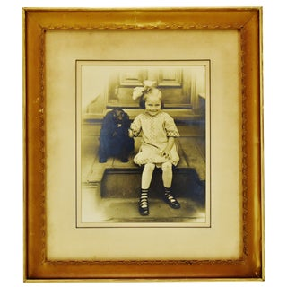 Antique Framed Photograph of Child With Dog For Sale