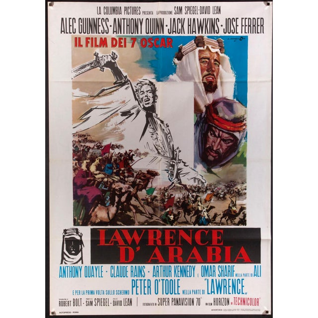 "Original 1970's re-release Italian poster for the 1962 Oscar-winning masterpiece ""Lawrence of Arabia"", directed by David..."