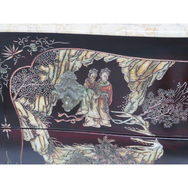 French Chinoiserie Marble Top Commode - Image 5 of 7