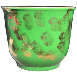 Rare Pacific Pottery Green and Gold Metallic Jardinière For Sale