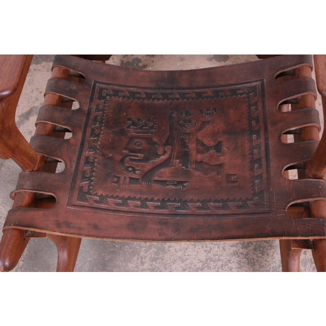 Brown Angel Pazmino Teak and Leather Rocking Chair With Ottoman, Ecuador, 1960s For Sale - Image 8 of 12