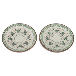 European Terracotta Tapas / Olive Oil Dishes - Pair For Sale