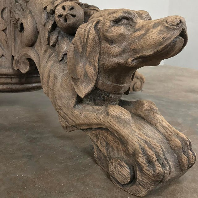 19th Century French Renaissance Stripped Oak Center Table With Hunting Dogs For Sale - Image 9 of 13
