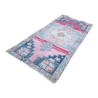 Vintage Large Pattern Rug for Home & Nursery Decor, Turkish Oushak Wool Rugs, Oriental Tribal Foyer Size Carpet 3'12'' X 8'5'' / 121 X 257cm For Sale