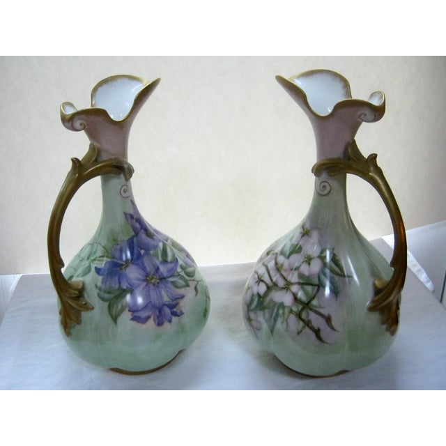 Antique Hand Painted Unsigned Limoges Ewers - A Pair - Image 5 of 8