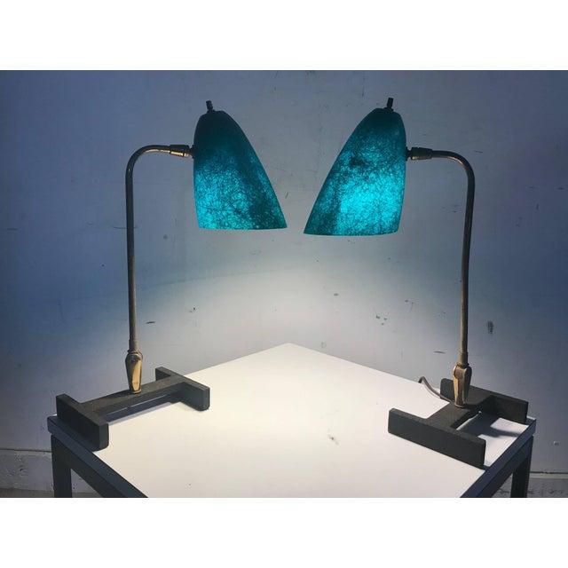 Mathieu Matégot Matching Modernist Task Desk Lamps Fiberglass Shades, France - A Pair For Sale - Image 4 of 10