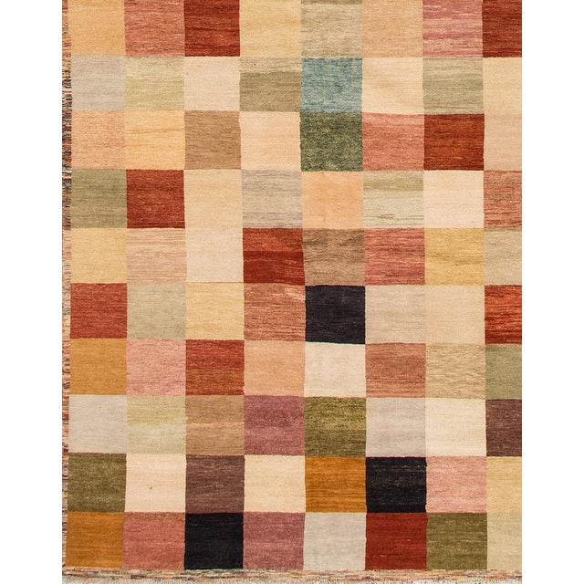 Transitional Apadana - Modern Oversize Multicolored Geometric Indian Gabbeh Rug, 10.06x15.06 For Sale - Image 3 of 11