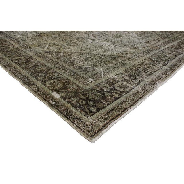 Turquoise Distressed Antique Persian Mahal Rug With Modern Industrial Style, 10'06 X 13'07 For Sale - Image 8 of 8