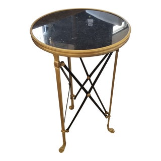 Global Views Directoire Black Stone & Brass Side Table For Sale