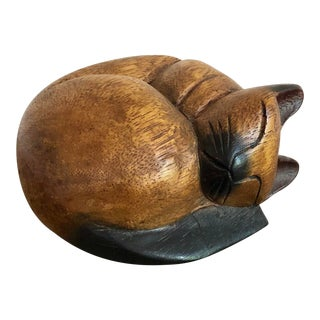 Vintage Hand Carved Wooden Siamese Cat For Sale