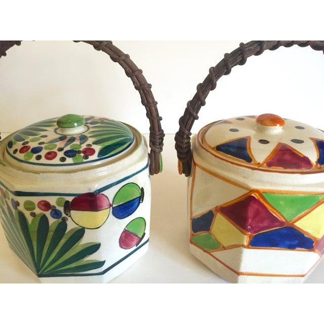 Rare Vintage 1930's Art Deco Japan Hand Painted Porcelain Handled Ceramic Biscuit Barrel Jars - Set of 2 For Sale - Image 9 of 13