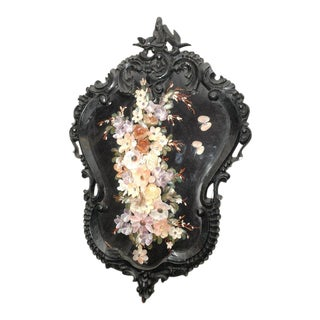 Carved Frame with Shell Floral Display For Sale