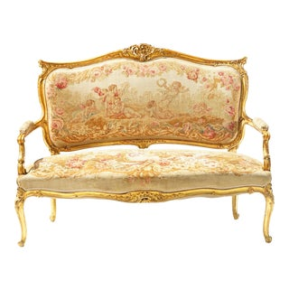 19th C. French Giltwood Settee With Orig. Aubusson For Sale