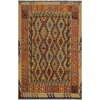 Porfirio Blue/Ivory Hand-Woven Kilim Wool Rug -5'1 X 6'5 For Sale