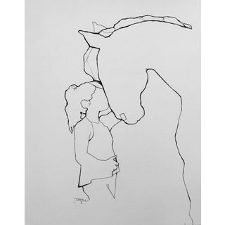 Best Friend Contemporary Line Drawing For Sale