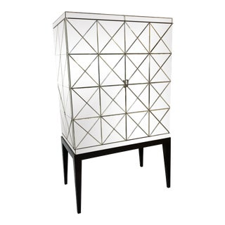John-Richard Antiqued Mirror Bar Cabinet For Sale