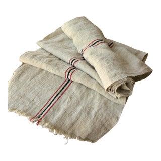 Vintage Homespun Grain Sack Fabric Hemp Washed 3.5yds Red + Black Rare Fabric For Sale