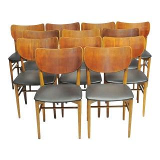 Mid-Century Modern Niels and Eva Koppel Twelve Danish Dining Chairs by Slagelse Møbelfabrik - Set of 12 For Sale