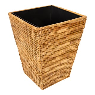 Artifacts Rattan Square Tapered Waste Basket For Sale