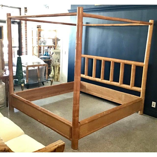 Boho Chic Vintage Boho Chic King Size Bamboo Canopy Bedframe For Sale - Image 3 of 12