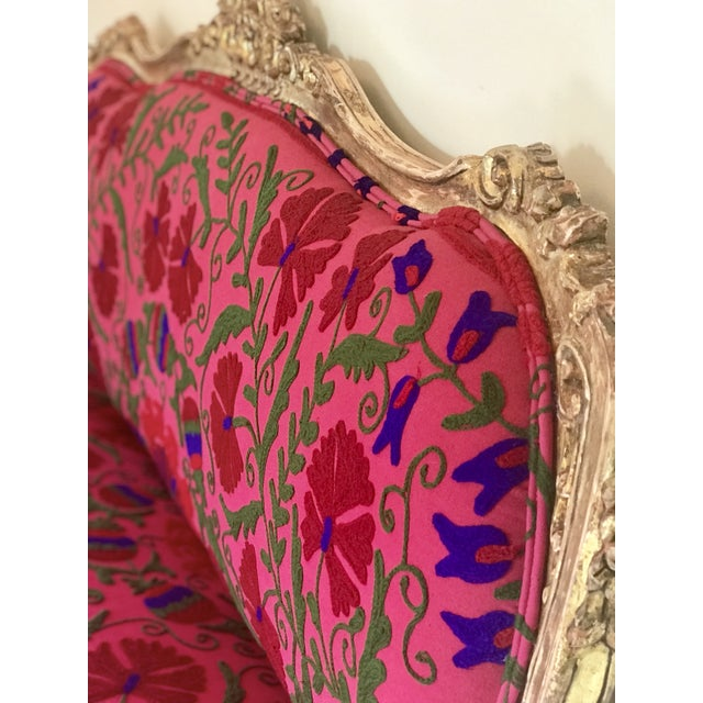 20th Century Boho Chic Red and Hot Pink Velvet French Settee - Image 5 of 11