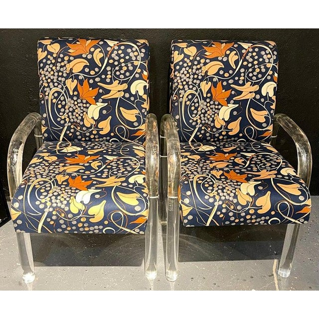 Mid-Century Modern Set of Four Chairs, Tubular Lucite Frames For Sale - Image 10 of 13