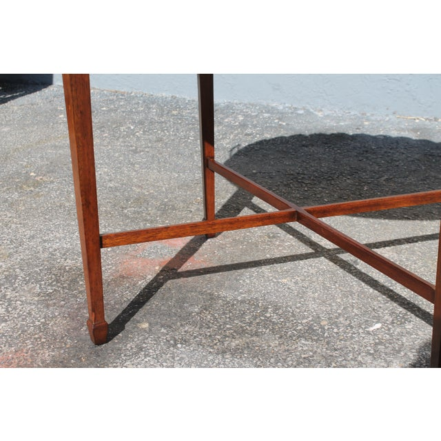 "Brown Mid-Century Modern Signed Baker ""Collectors Edition"" Exotic Burl Amboyna Tea Table For Sale - Image 8 of 13"