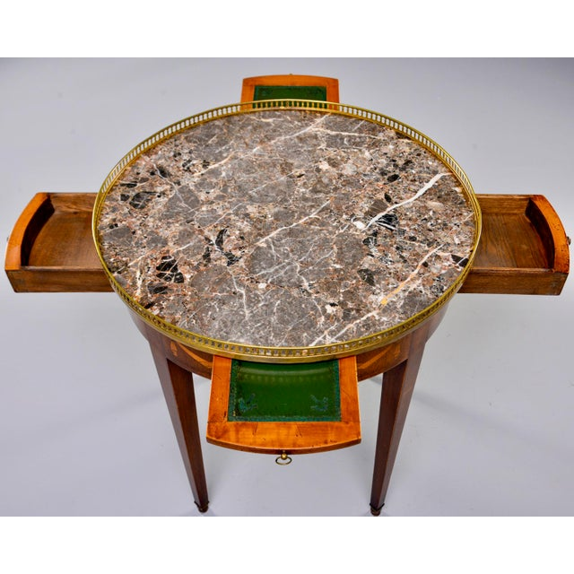 French Oak Marble Top Gueridon With Marquetry and Brass Gallery For Sale - Image 9 of 13