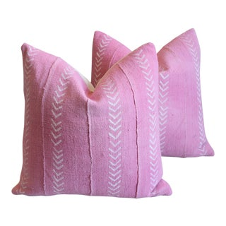 "Boho Chic Pink Mud Cloth & Velvet Feather/Down Pillows 20"" Square - Pair For Sale"