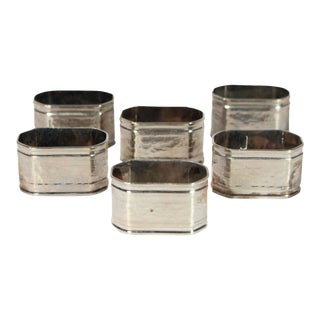 Vintage Silver Plated Hammered Brass Octagonal Napkin Rings - Set of 6 For Sale