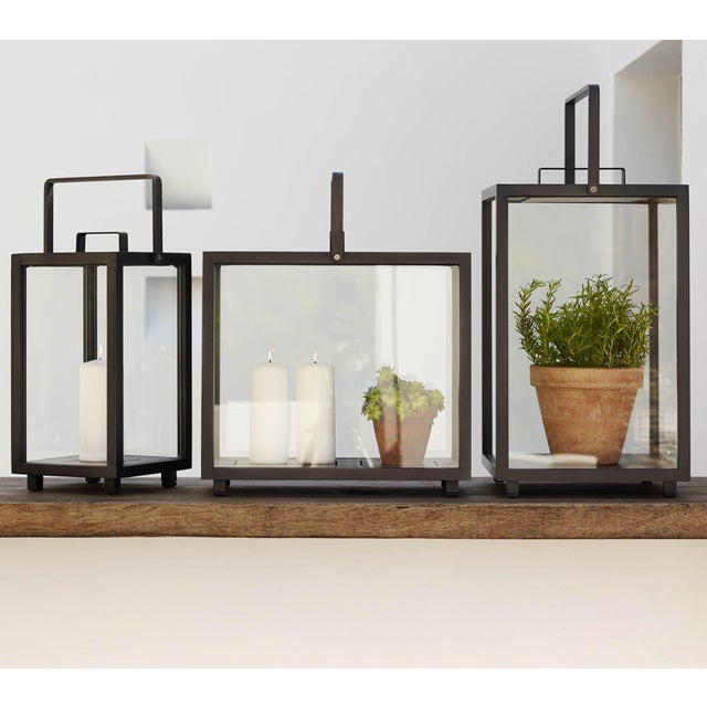 Mid-Century Modern Cane-Line Lighthouse Rectangular Lantern, Lava Gray For Sale - Image 3 of 6