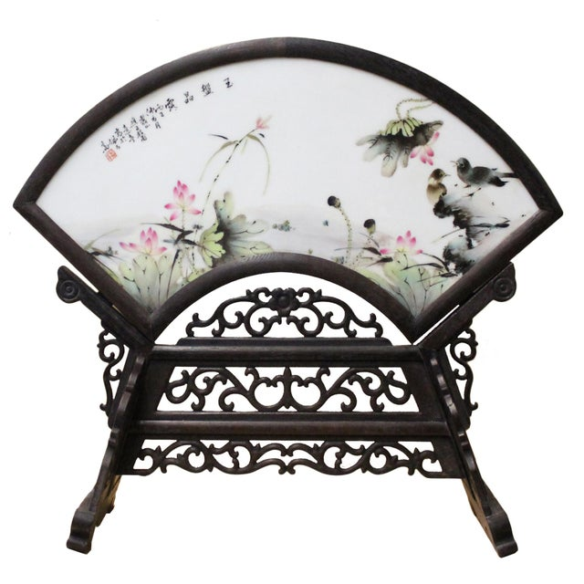 2010s Chinese Wood Frame Porcelain Plaque Table Top Screen Display For Sale - Image 5 of 8