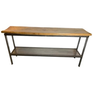 Industrial Reclaimed Wood and Metal Console Table For Sale