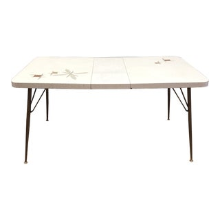 Mid-Century White Vinyl Table + Leaf For Sale