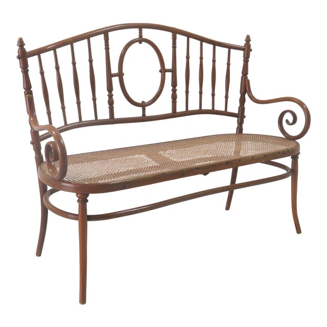 Early 20th Century Thonet Style Bentwood and Caned Settee For Sale