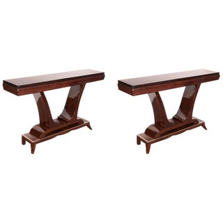 French Art Deco Rosewood Consoles With Nickeled Trim - a Pair For Sale