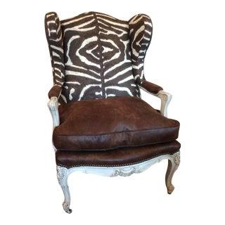 1920's Ralph Lauren Zebra Upholstered Wingback For Sale