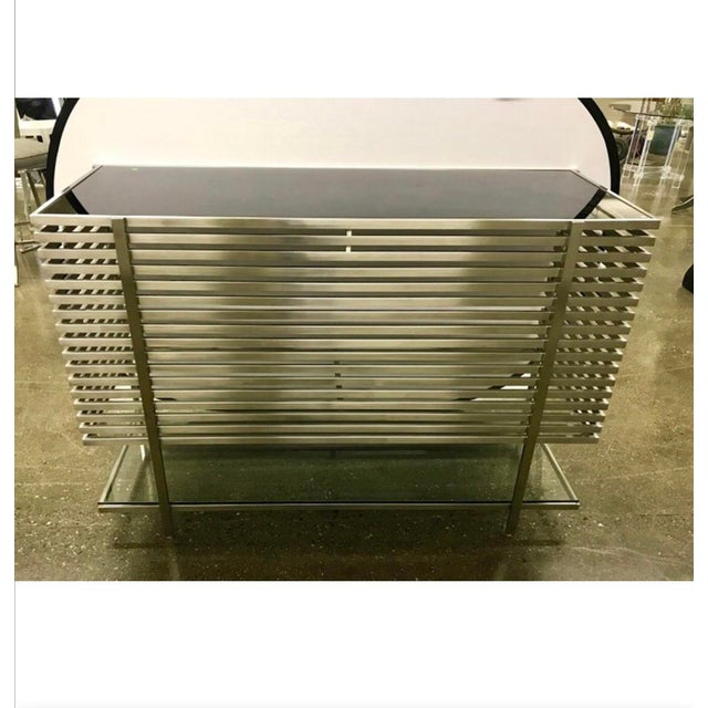Mid-Century Modern Style Laser Cut Steel, Glass and Chrome Dry Bar For Sale - Image 4 of 13