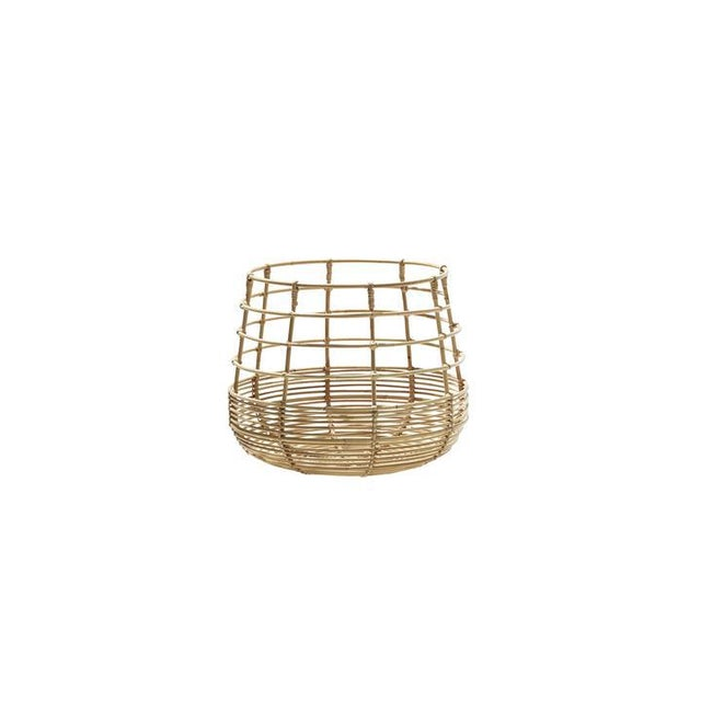 Brown Cane-Line Sweep Basket, Round For Sale - Image 8 of 8