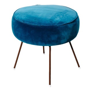 1950s Velvet Dot Stool For Sale