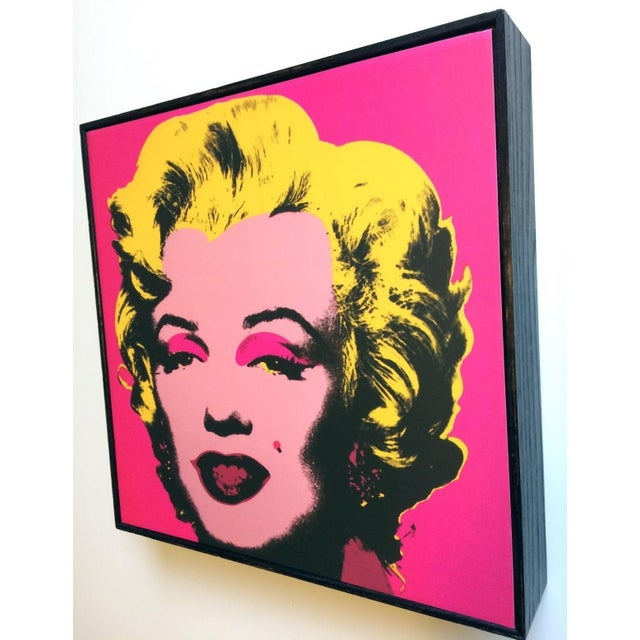 "Andy Warhol Marilyn Pink print mounted on a wooden box frame. Measures 10"" x 10"" x 2"". Like New condition."
