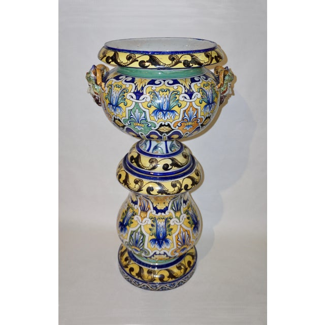 White Montagnon 1880s French Blue, Yellow, Green Majolica 2 Pc. Jardinière on Stand For Sale - Image 8 of 13