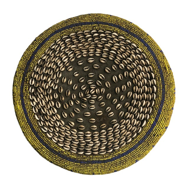 """Old Lg African Beaded Wood Bamileke Stool /Table Cameroon 18.5'""""h For Sale In New York - Image 6 of 10"""