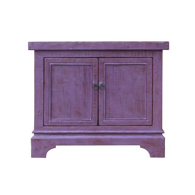 Distressed Purple Lacquer Rough Raw Wood Credenza Console Table Cabinet For Sale - Image 9 of 9